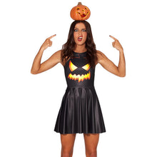 Load image into Gallery viewer, Halloween Pumpkin Light Print Show Party Costume Dress