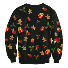 Load image into Gallery viewer, Christmas Tree Printed Long Sleeve Round Neck Hoodie