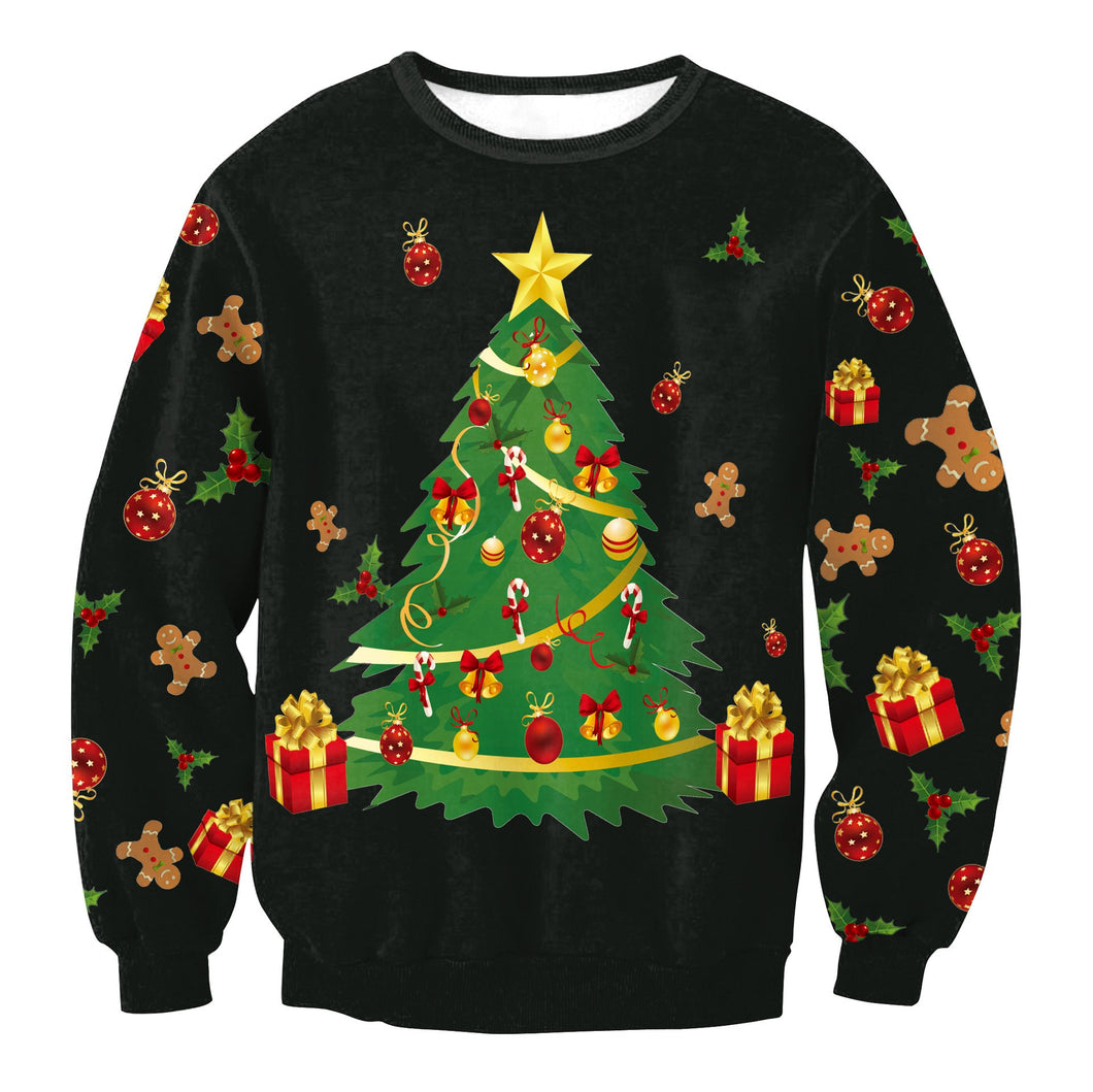 Christmas Tree Printed Long Sleeve Round Neck Hoodie