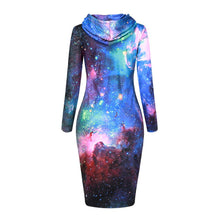 Load image into Gallery viewer, Lush Galaxy Hoodie Dress