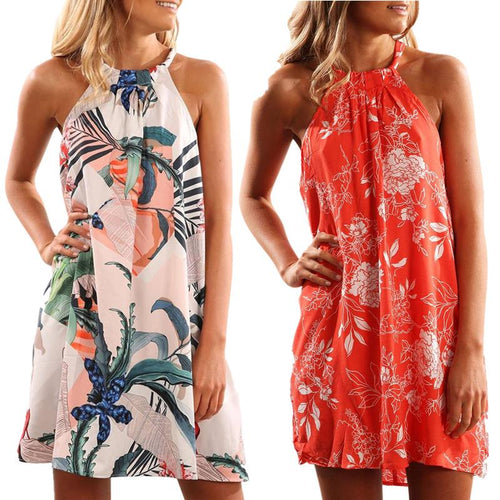 Floral Print Sleeveless Mini Dresses