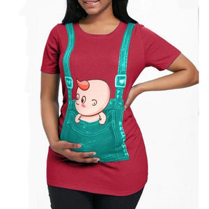 Maternity Plain O-Neck Cute Printing T-Shirt