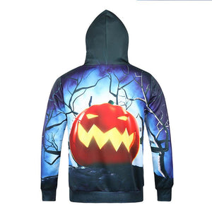 Mens Halloween 3D Pumpkin Printing Hooded Long Sleeve Hoodies
