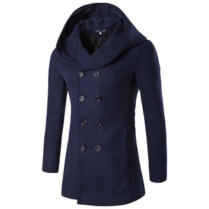 Long Sleeves Men's Woolen Blend Thicken Peacoat