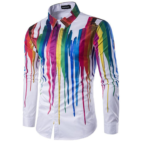 Men's Paint Splatter Long Sleeve Shirt
