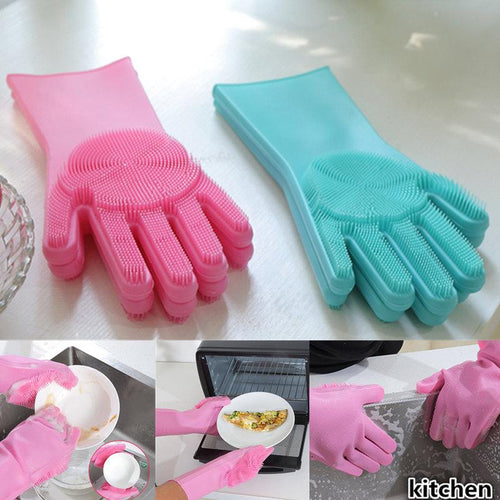 Magic Dishwashing Gloves Silicone Thicken Durable Multi-Function Clean Housework Kitchen Brush Bowl Anti-scalding