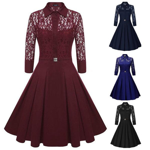 Lace Retro Large Slim Vintage Dress