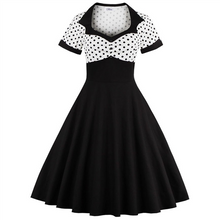 Load image into Gallery viewer, Polka Dot Retro Square Neck Waist Slim Fit Dress