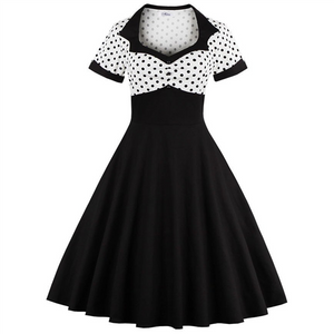 Polka Dot Retro Square Neck Waist Slim Fit Dress