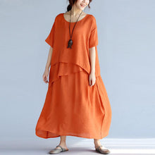 Load image into Gallery viewer, Loose Fitting Long Linen Dresses Oversized Cotton Maxi Dress Vintage Short Sleeve Cotton Clothing