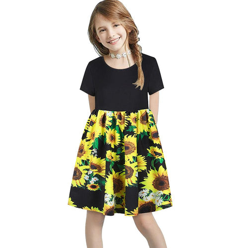 Fashion Girl Sunflower Short Sleeve Ruched Patchwork Flare Dress For Kids