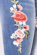 Load image into Gallery viewer, Embroidered Hole High Waist Pants Denim Pants