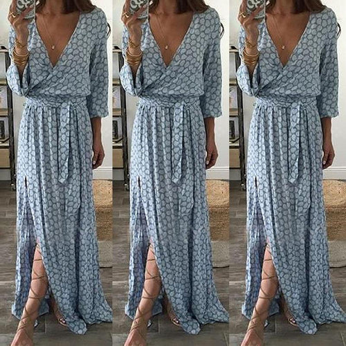 V-Neckline Long Sleeve Maxi A-line Dress