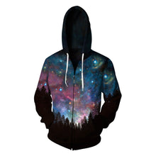 Load image into Gallery viewer, Galaxy Printed Zipper Fleece Hooded Sweatshirt