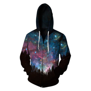 Galaxy Printed Zipper Fleece Hooded Sweatshirt
