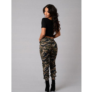 Loose Printed Casual Elastic Waist Women Camo Pants