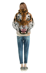 3D Tiger Head Digital Print Baseball Uniform Hoodie