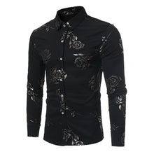 Load image into Gallery viewer, Rose Print Men's Long Sleeve Shirt