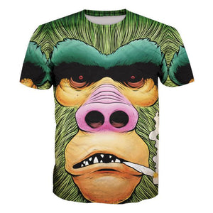 3D Orangutan Print Short Sleeve Men's T-Shirt