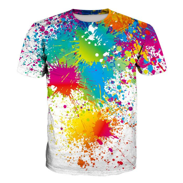 3D Paint Print Short Sleeve Men's T-Shirt