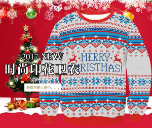 Digital Print Christmas Snowflake Round Collar Sweatshirt