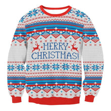 Load image into Gallery viewer, Digital Print Christmas Snowflake Round Collar Sweatshirt