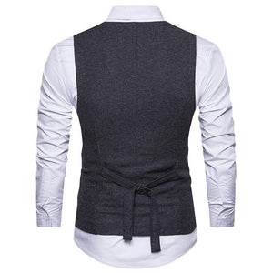 V Neck Double Breasted Belt Design Waistcoat