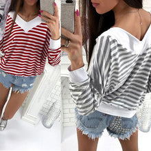 Load image into Gallery viewer, V-neck Long Sleeve Colorblock Striped Loose T-Shirt