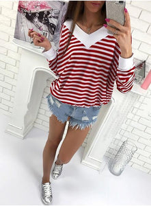 V-neck Long Sleeve Colorblock Striped Loose T-Shirt