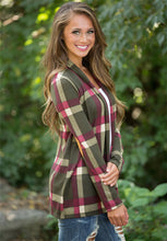 Load image into Gallery viewer, Plaid Printed Jacket Cardigan