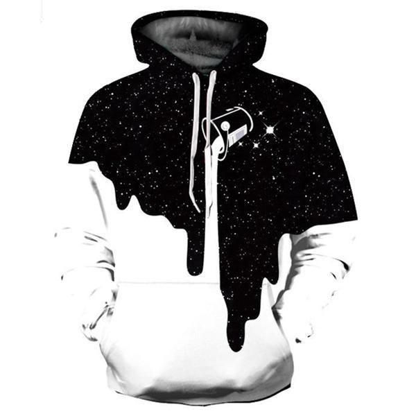 Fashion Milk Cup Pattern Digital Printing Casual Hooded Couple Pullover Hoodie