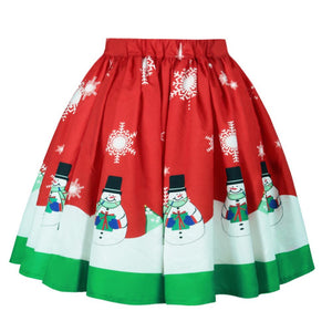 Christmas Print Ombre Skirt