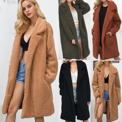 Long Faux Fur Casual Coat