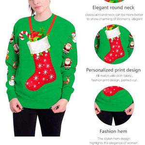 Christmas 3D Digital Print Round Neck T-shirt Tops