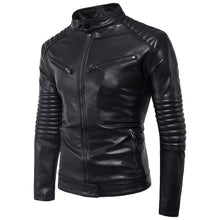 Load image into Gallery viewer, Men's Casual Black Zipper PU Leather Jacket