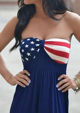 Load image into Gallery viewer, US Flag Stars Print Tube Strapless Maxi Dress