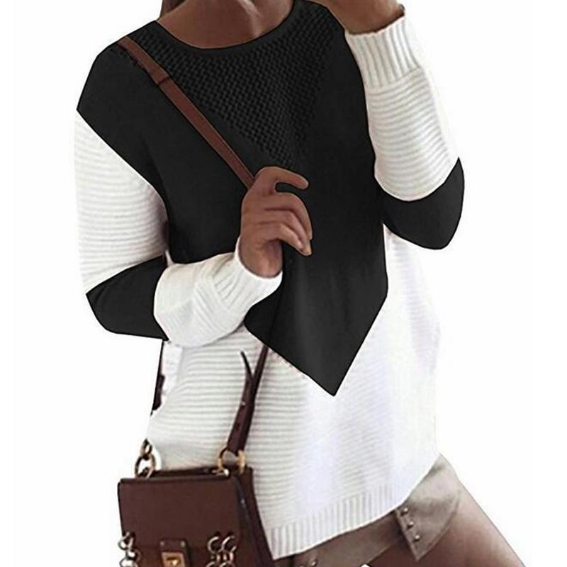 Long Sleeve Casual O Neck Color Patchwork Sweater