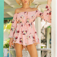 Load image into Gallery viewer, Off Shoulder Floral Print Layered Romper