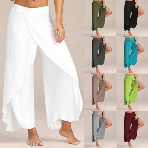 Plus Size Elastic Waist High Split Loose Long Wide Leg Pants