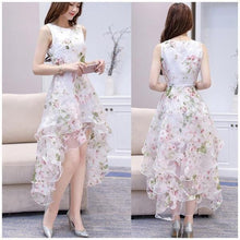 Load image into Gallery viewer, O-neck Lace Double Layer Flower Prom Party Dress