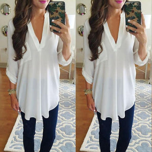 Women Fashion Casual V-neck Loose Chiffon Shirt