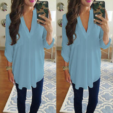 Load image into Gallery viewer, Women Fashion Casual V-neck Loose Chiffon Shirt