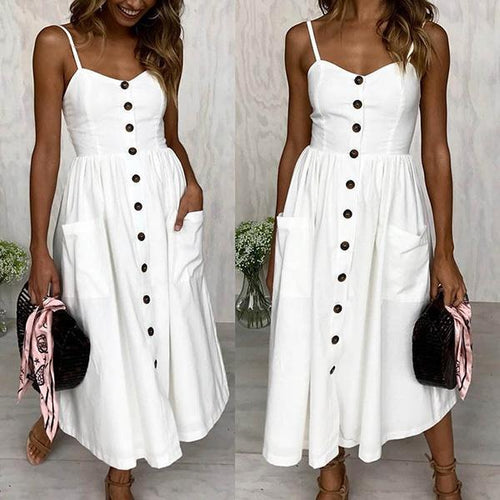 Women Fashion Spaghetti Strap Floral Backless Plain Button Down Casual Midi Dress Beach Sundress with Pockets