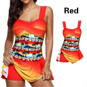 Plus Size Tropical Floral Printed Criss Cross Women Two Piece Tankini Swimsuit Swimwear With Skirt Boyshorts Swim Dress Beach Wear Bathing Suit