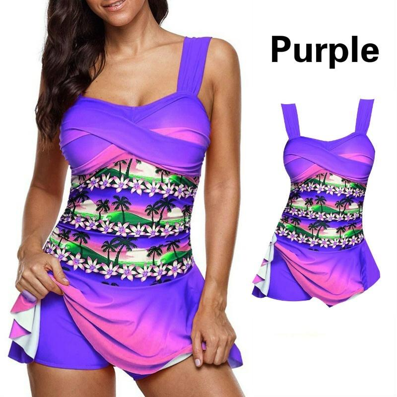 3583ba502b ... S-5XL Summer Floral Printed Two Pieces Tankini Swimsuit Beach Wear ...