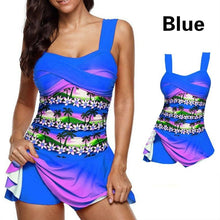 Load image into Gallery viewer, Plus Size Tropical Floral Printed Criss Cross Women Two Piece Tankini Swimsuit Swimwear With Skirt Boyshorts Swim Dress Beach Wear Bathing Suit
