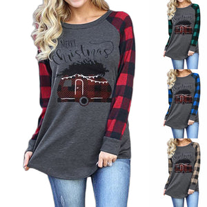 Women Christmas Shirt Merry Christmas Letter Print Round Neck Long Sleeve T-shirt