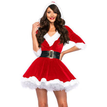 Load image into Gallery viewer, Santa Claus Red Velvet V-neck Half-sleeve One-piece Dress With Hat