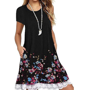 Round Neck Patchwork Floral Printed Shift Dress
