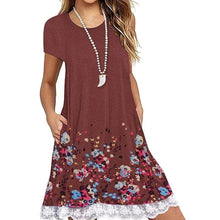 Load image into Gallery viewer, Round Neck Patchwork Floral Printed Shift Dress